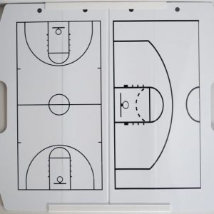 Our unique, portable, foldable basketball coaches dry erase board includes a plastic carrying case, a dual-sided microfiber cloth for cleaning, and dry-erase markers!